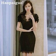 Черное кружевное вечернее платье вечерние женщин сексуальное