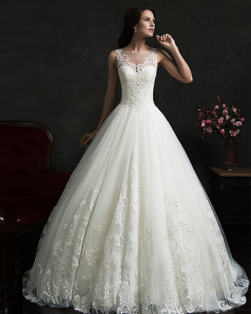 XH 167 New Arrival Lace Princess Wedding Dress 2017 Ball Gown White ...