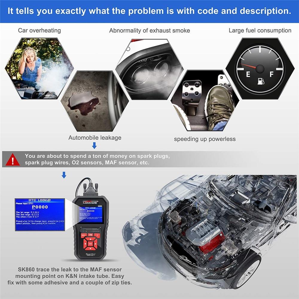 HTB1COLtObPpK1RjSZFFq6y5PpXab KONNWEI KW850 OBD2 Auto Diagnostic Scanner Universal OBD Car Diagnostic Tool ODB2 Check Engine Automotive Car Code Reader Black