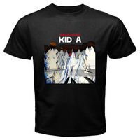 100 Cottons Print T Shirt Funnyy New Radiohead Kid A Rock Band Logo Design Tops High