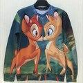 2015 New fashion  women hoodies  two deer  3d print  thin hip hop 3d  thin  Women's sweatshirt   hoody pullover