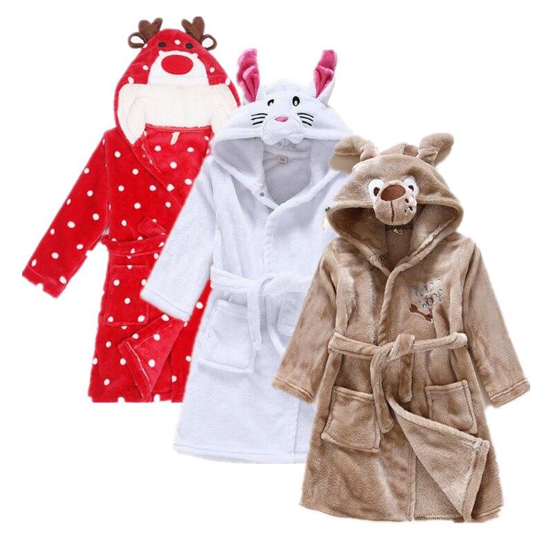 Einzelhandel Mädchen Schlaf Robe Mode Morgenmantel Kinder Bademäntel Schlaf Kleid Tierkopf Flanell Material Kinder Kleidung