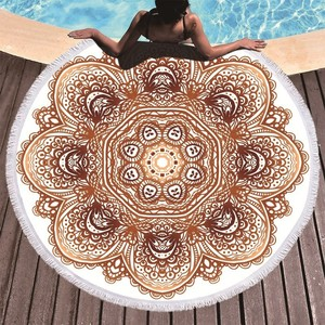 Image 2 - Bohemian Mandala Round Beach Towel Tassel Adult Microfiber Towel Soft Absorbent Summer Swimming Sport Bath Towel Serviette Plage