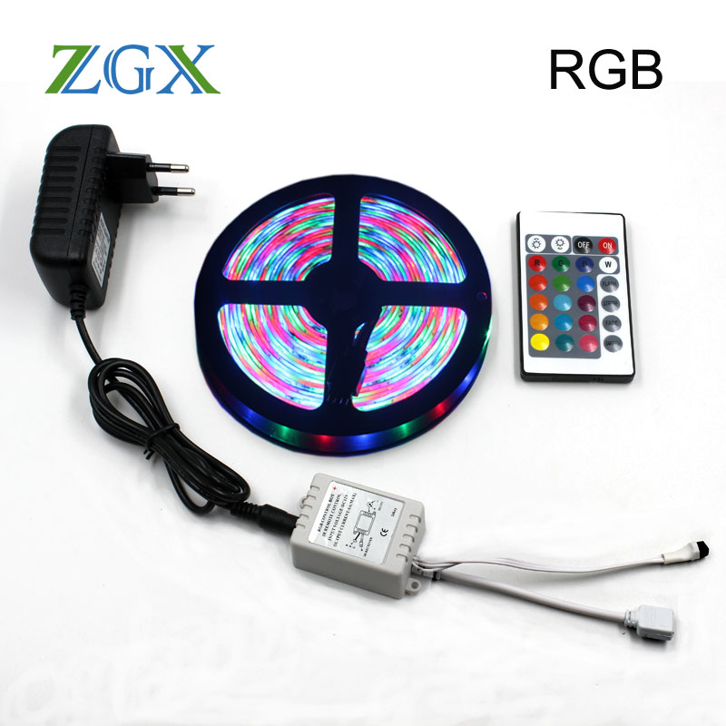 SMD 2835 RGB LED Strip lamp 5M 10M 15M Decor Tape light neon ip waterproof diode ribbon 24K Controller DC 12V adapter set lights 10m 5m 3528 5050 rgb led strip light non waterproof led light 10m flexible rgb diode led tape set remote control power adapter
