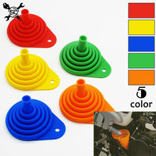 Motorcycle Collapsible Silicone Oil Funnel Oil Fuel Funnel Foldable Hopper Fit For HONDA SUZUKI YAMAHA KAWASAKI
