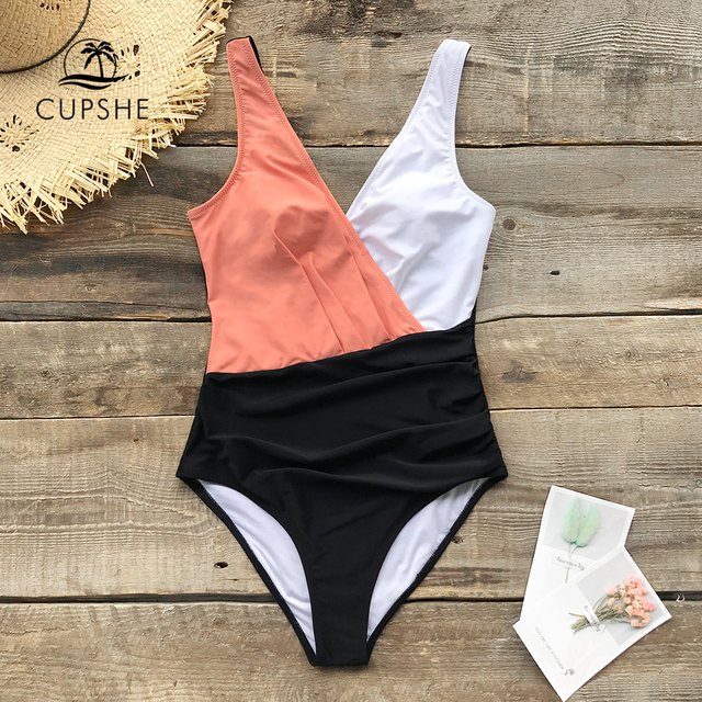CUPSHE Pink White And Black Color block One-Piece Swimsuit Women Sexy Monokini Swimwear 2020 Girl Beach Bathing Suits 2