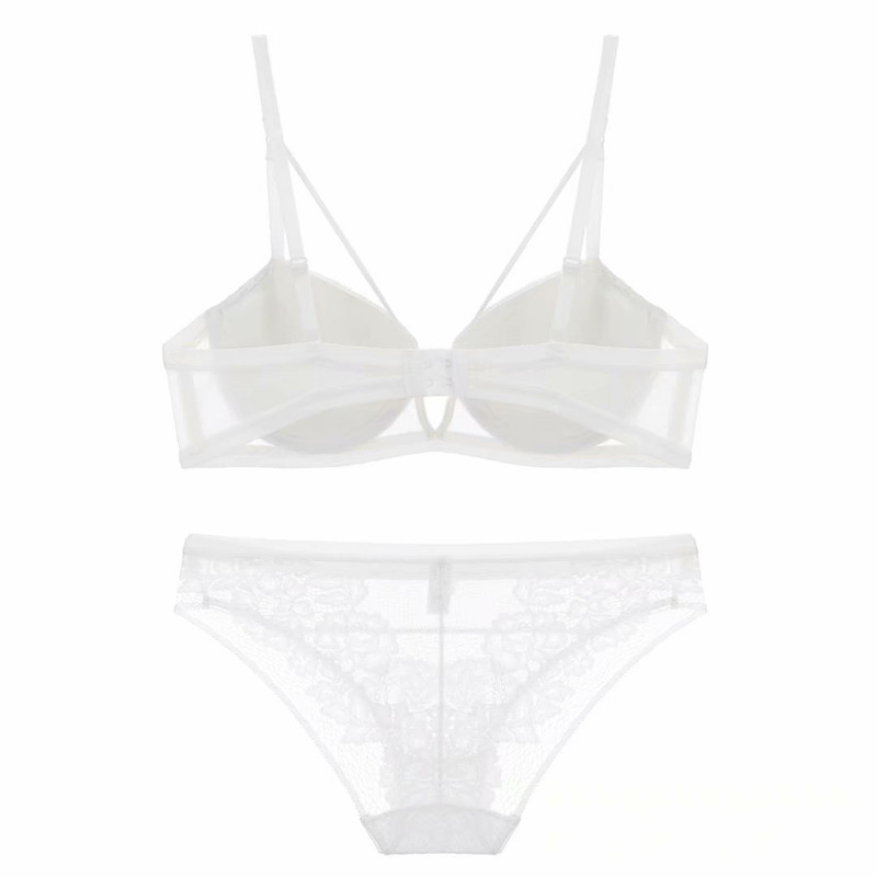 Image 5 - Lace floral embroidery push up women sexy lingerie sets side gather thicken underwear set French hollow out young girls bra set-in Bra & Brief Sets from Underwear & Sleepwears