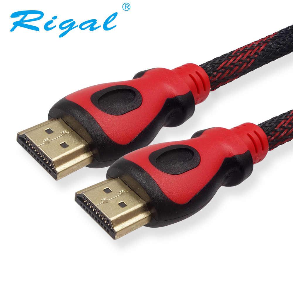 Rigal 1.4 V kabel HDMI 1.5 M 3 M 5 M 10 metr kabel HDMI męski na męski Adapter 1080 P 3D LCD HDTV LED projektor DLP RD817 RD805