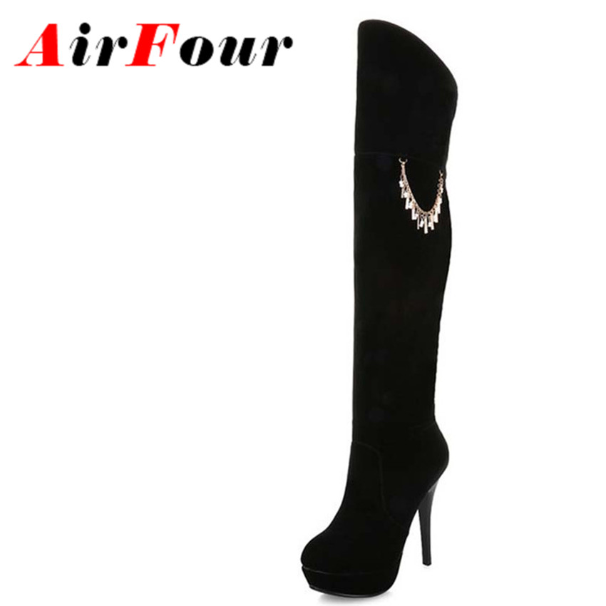 ФОТО Airfour34-39 New Boots Arrival Women Winter Rhinestone Over The Knee High Boots High Heels Shoes Woman Winter Motorcycle Boots