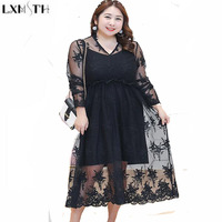 LXMSTH Spring Women Black Lace Dress Long Sleeve Plus Size 4XL Sexy Perspective Lace Dress fake two piece Elegant Dresses 2018