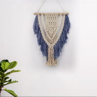 Nordic Bohemian Hand Knotted Wall Hanging Tapestry Macrame Aesthetic Beautiful Tassel Craft Vintage Scandinavian Wall Mural