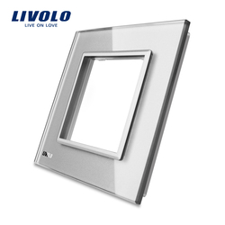 Livolo Luxury White Pearl Crystal Glass, 80mm * 80mm, padrão DA UE, única Tomada Interruptor Do Painel de Vidro Para A Parede, VL-C7-SR-11