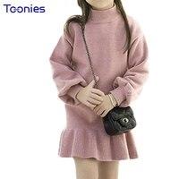 2017 New Autumn Girl Dress Knitt Cotton Dresses Long Sleeve Kids Pincess Vestidos Child Clothes Solid