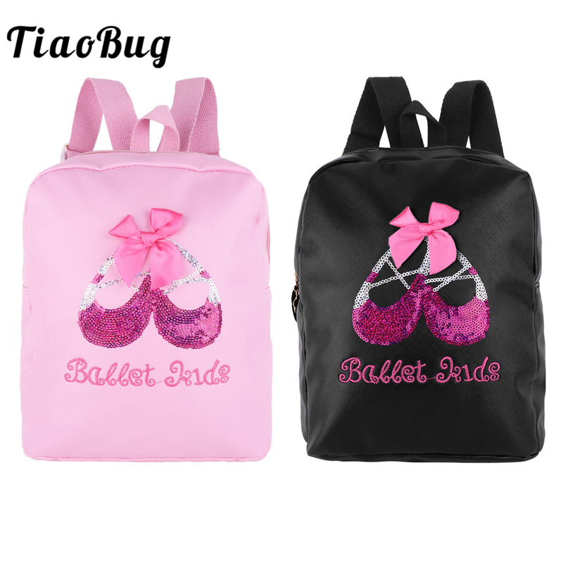 TiaoBug Kids Faux Leather Ballet Dance Bag Students School Backpack Paillettes Sequin Embroidery Shoe Girls Gym Ballet Backpack