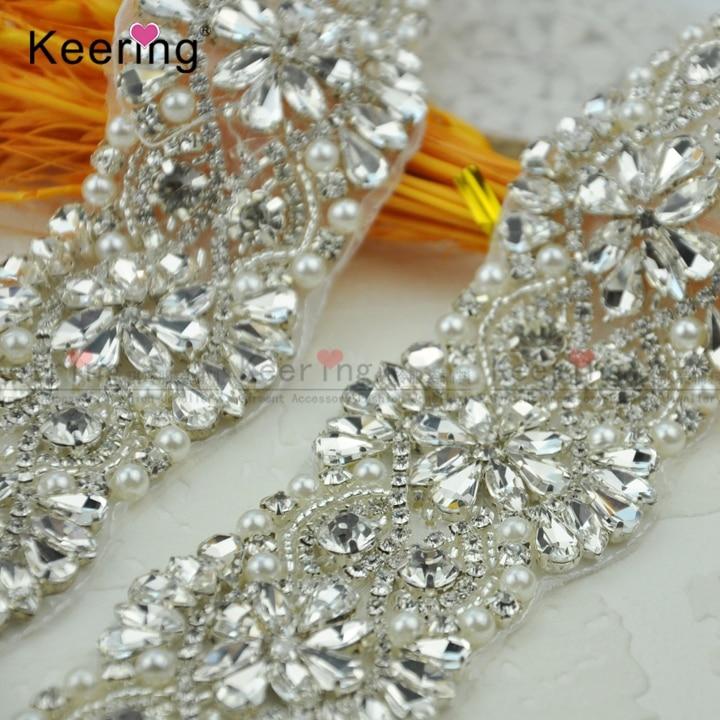 Keering fantaisie fait à la main strass perles de mariée garnitures WRA-584