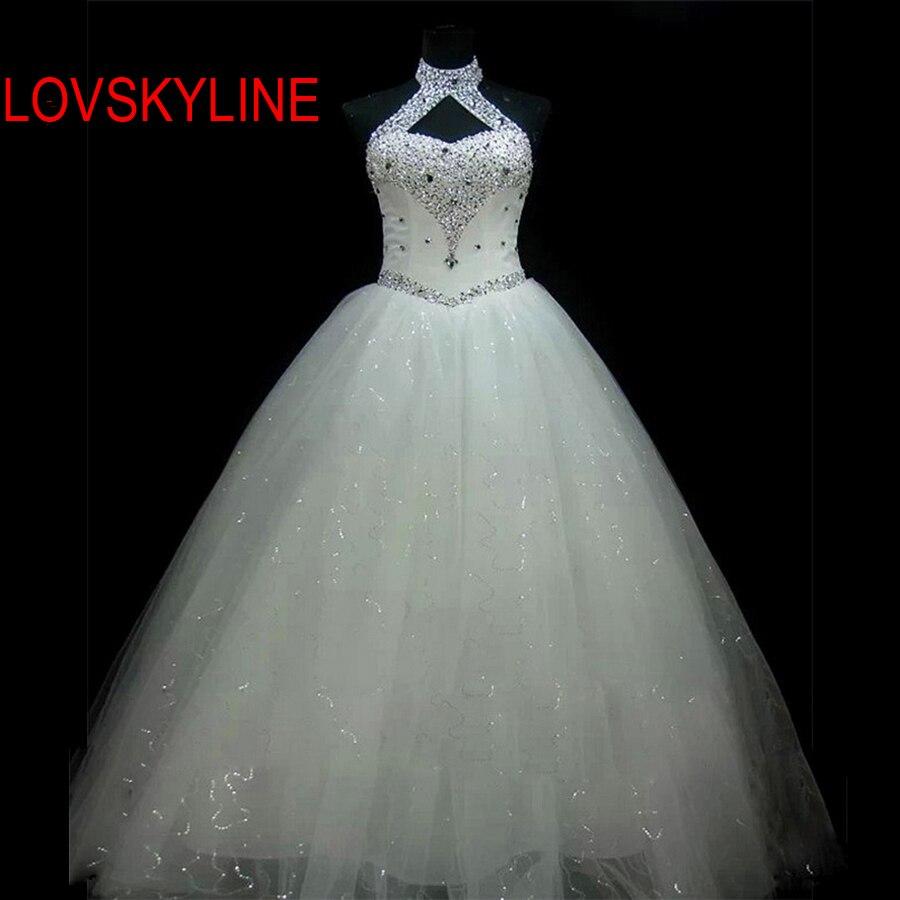 2018 High Quality Sexy Halter Elegant Lace Wedding Dress Luxury Crystal Vestido Vintage Plus Size Ball