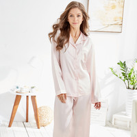New Arrival Women S Classic Satin Pajama Set Leisure Style For Female Solid Color Sleepwear At