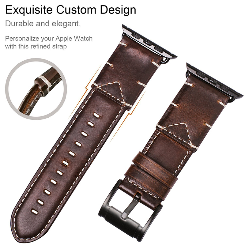 Business Strap for Apple Watch band Genuine Leather 42mm 38mm Crazy Horse Handmade Replacement Wrist Bracelet for iwatch 4 3 2 1 in Watchbands from Watches