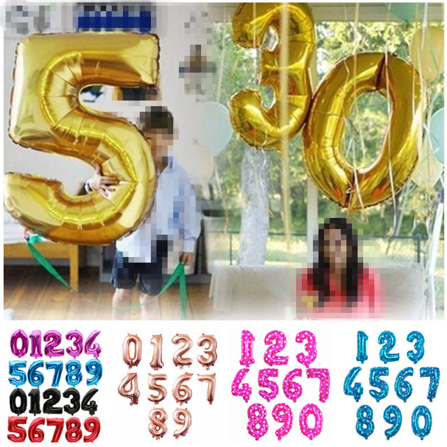 32 40 inch Large Number Foil Balloon Rose Gold Silver Big Number Balloons Birthday Party Decoration Wedding Inflatable Air Ball