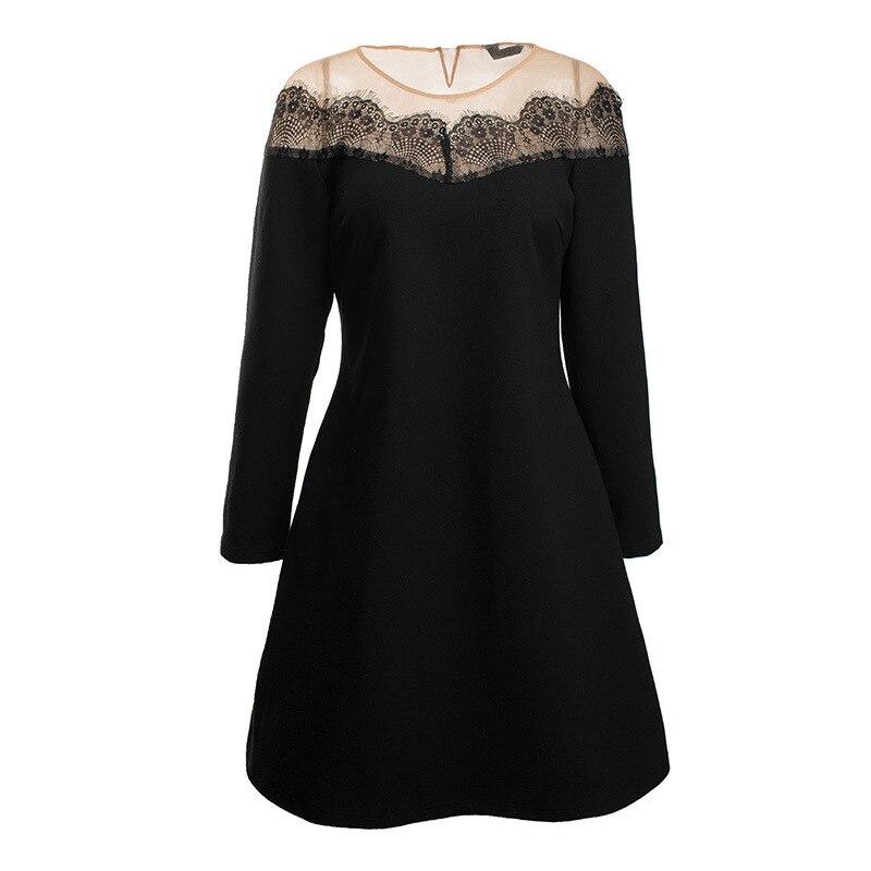 Robe Nouveau Femmes Printemps Marque Manches Parti Plus Taille Robes 5xl 2018 Aofuli Slash Noir L xxxxl Cou Sexy Longues Dentelle wvmN0y8On