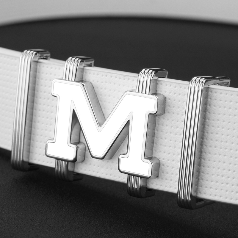 2018High Quality off white letter M Luxury Metal Buckle cowhide belts for men jeans cow leather gentleman Blue Cinturones Hombre