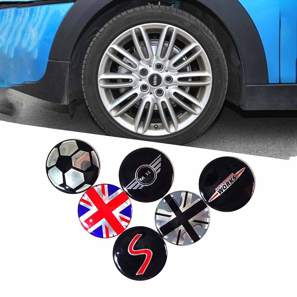 4pcs 50mm Car Styling Wheel Center Cover Sticker Hub Cap Decal Emblem Badge For Mini Cooper S JCW R53 R52 R55 Clubman Countryman aliauto car styling side door sticker and decals accessories for mini cooper countryman r50 r52 r53 r58 r56