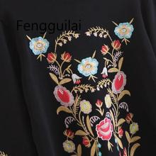 Vintage Chic Цветочные Вышивка Вязаный Свитер Женщин 2018 Мода Водолазка Галстук-бабочка Рукава Женс