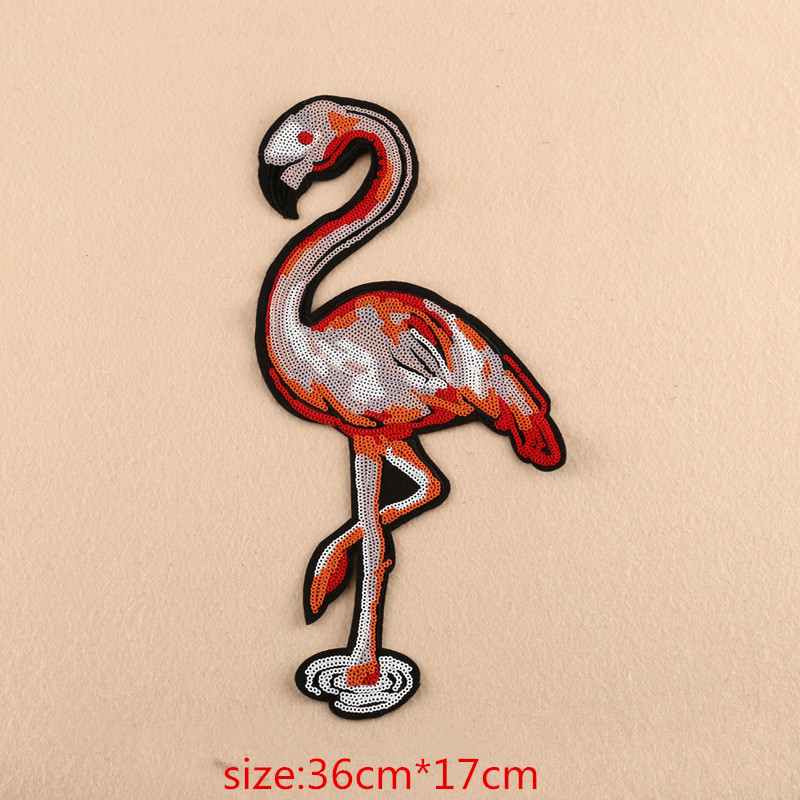 2pcs/Set big embroidered sequin patches for clothing bird patch Modify t shirt patch appliqued DIY Bag accessories