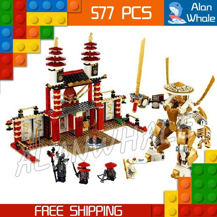 577 pièces Ninja Temple de la lumière Dojo or Mech samouraï Robots 9795 Figure blocs de construction jouets classiques compatibles avec LegoING