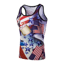 The new US Independence Day 3D printing males's trend Slim sleeveless T-shirt vest US parts