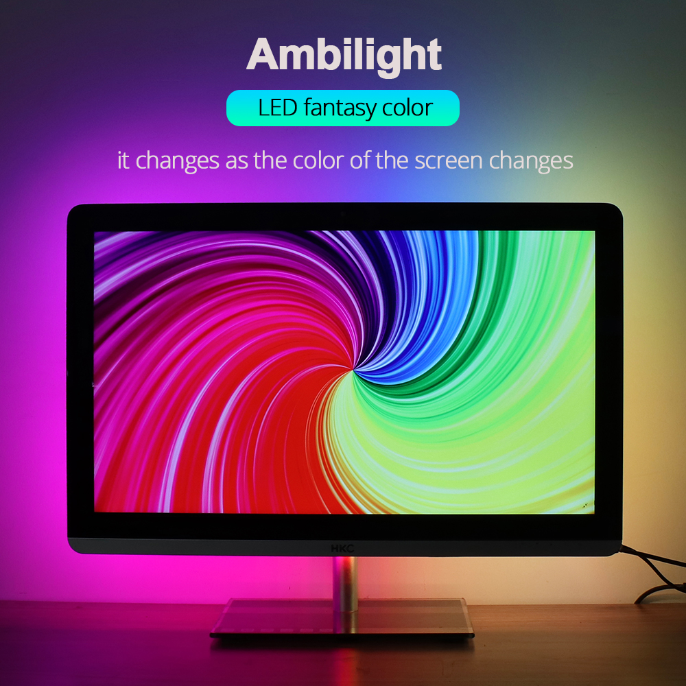<font><b>DC5V</b></font> Ambilight-TV <font><b>WS2812B</b></font> USB LED Strip Light Desktop PC Screen Backlight Addressable RGB LED Strip Full Kit 1M 2M 3M 4M 5M image
