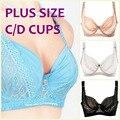 Moda íntima estilo verão ultra fino sutiã grande C/D cup bra ajustável correias sexy lace plus size underwired bra H049