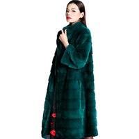 Настоящее меховое пальто из норки Меховая куртка Двусторонняя шуба 2019 черный Повседневное Элегантное зимнее длинное пальто Для женщин топ
