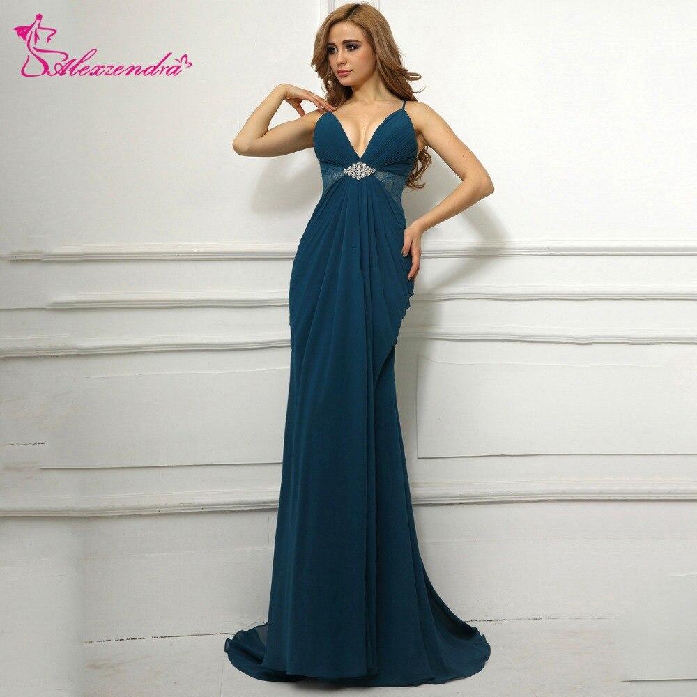 Alexzendra Navy Blue Mermaid Chiffon Prom Dresses with Straps V Neck ...