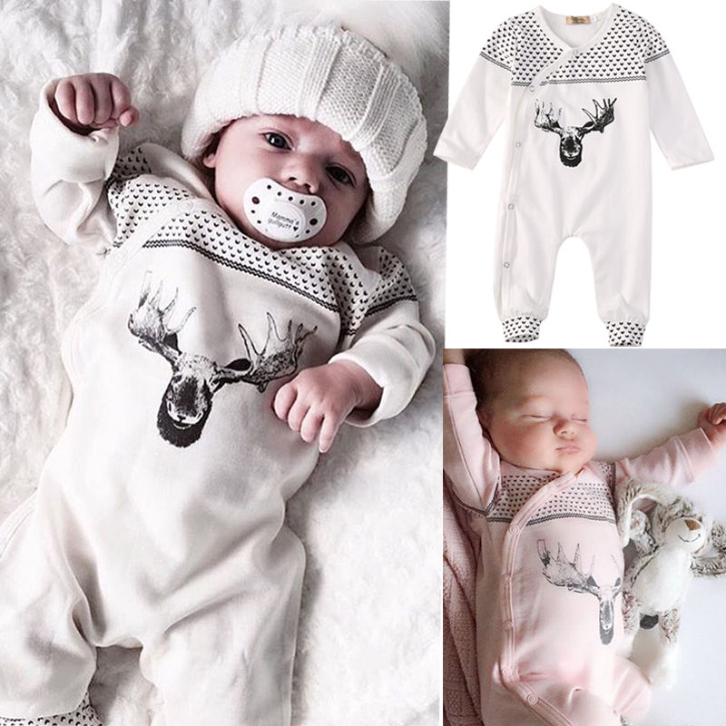 Lovely Baby One-Piece Infant Baby Girl Boy Deer Romper Jumpsuit Playsuit Outfits Autumn Winter Clothing 2016 fashion baby boy girl romper clothes autumn winter warm bebes playsuit zipper long sleeve jumpsuit one pieces outfits suit