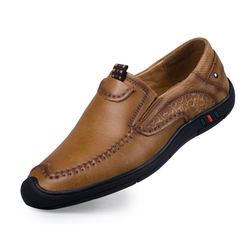 Retro Fashion Genuine Leather Men Shoes Business Dress Men Shoes Classic Oxford Shoes for Men Casual Leather Shoes Brown Khaki 8 in Men 39 s Casual Shoes from Shoes
