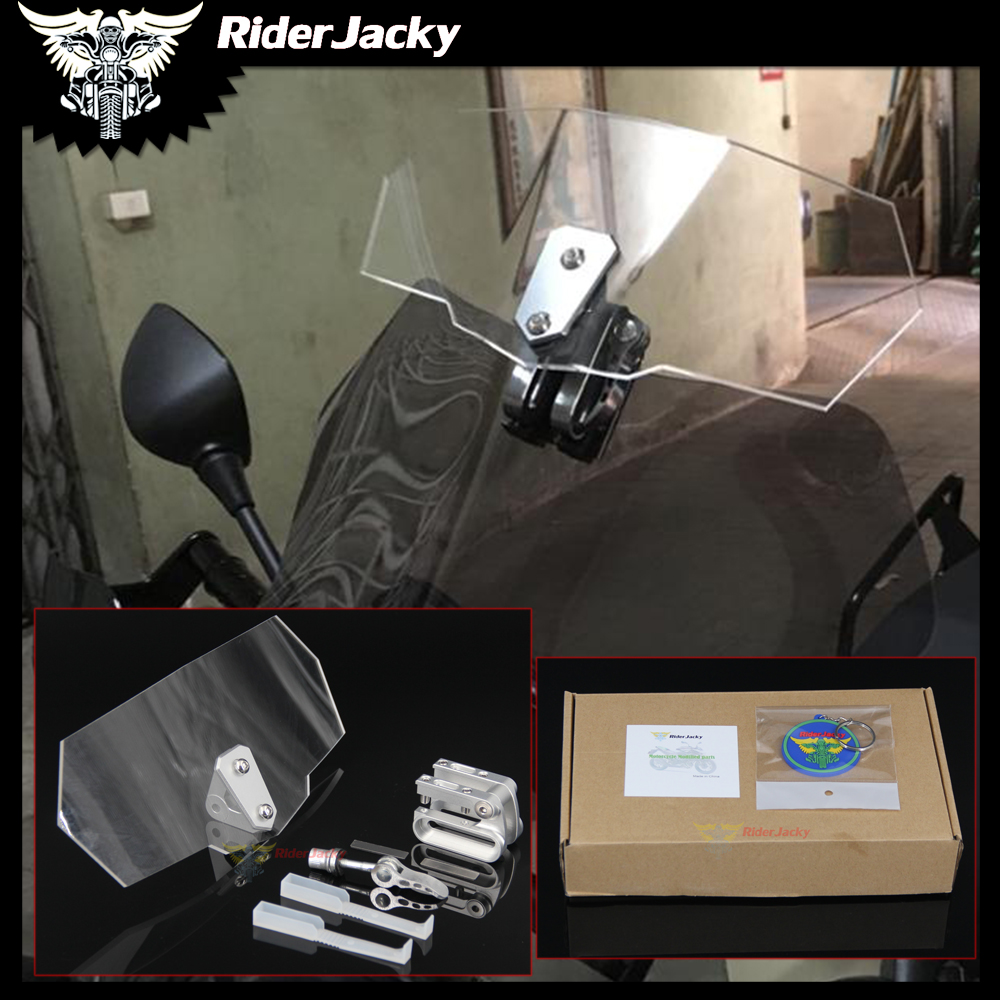 RiderJacky Adjustable Windscreen Wind Deflector Universal Motorcycle Windshield for Kawasaki BMW Ducati honda KTM Aprilia Yamaha universal motorcycle gear shifter shoe case cover protector gear protector for yamaha honda ducati kawasaki bmw ktm 144 150 sx