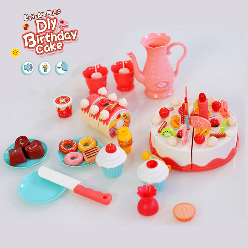 Cutting Birthday Cake Toys with Light and Music Kids Pretend Play Play Food Children kitchen toys for Girls Gift Educational Toy