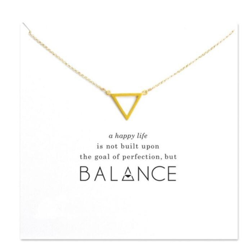 2018 New Hollow Triangle Pendant Short Chain Choker Necklace For Women Golden wish necklace with card Jewelry As gift BALANCE image