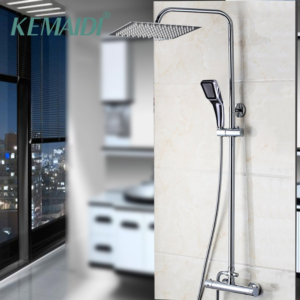 KEMAIDI 8,10,12,16 Inch Rainfall Shower Faucets Shower Head Bathroom Thermostatic Bathtub Shower Water Tap Faucet Mixer Taps
