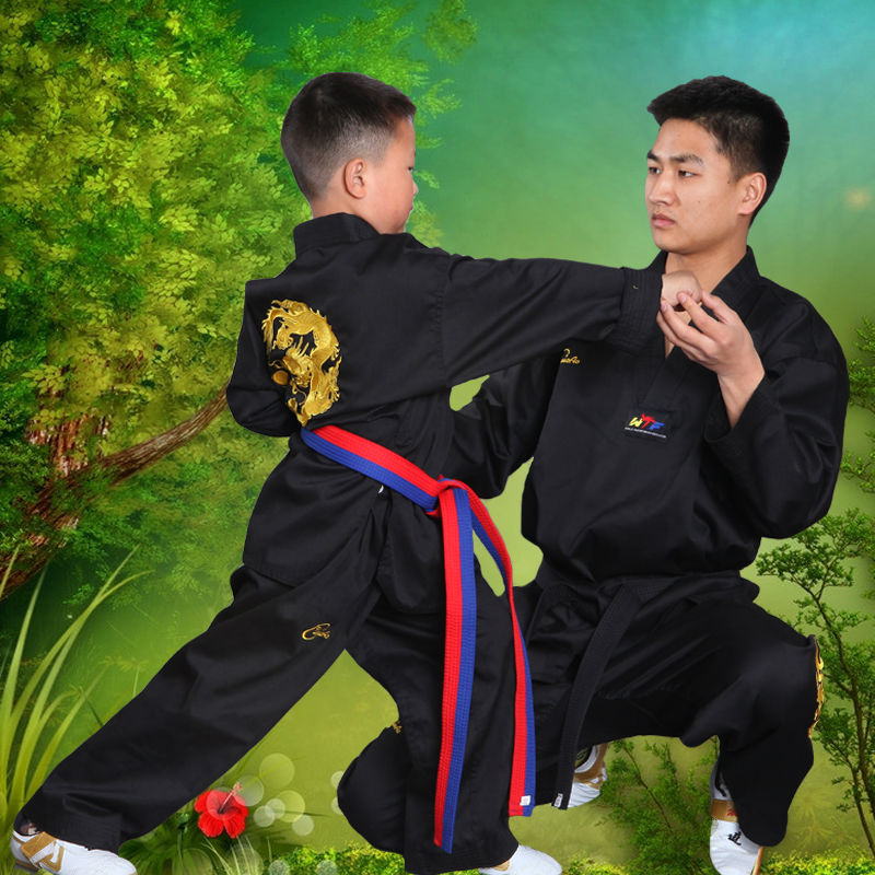Embroidered Dragon Black Polyester Cotton Taekwondo Clothing Adult Kids Long-sleeve Taekwondo Uniform Karate Uniform