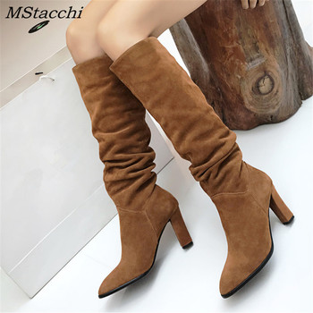 Mstacchi New Suede Leather Winter Botas Mujer Pointed Toe Knee High Boots Slip on Warm Plush Shoes Woman Wrinkle Ruffled Boots