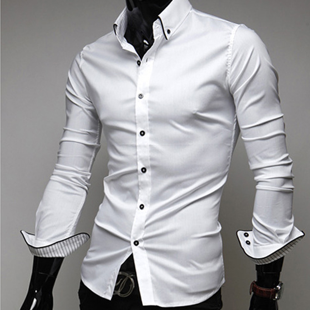 New Fashion Casual Men Shirt Long Sleeve Trend Slim Fit Men Solid