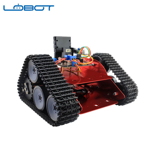 US $43 92 49% OFF|LOBOT Metal Tracked Vehicle Car Model Robot Chassis  Crawler Caterpillar DIY RC Parts Remote Control Robot Toy for Children-in  Parts