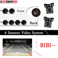 Koorinwoo Video System Car Parking Sensors 6 Radar Buzzer Alarm Front Probes Parktronic Rear view camera Accessories Black White