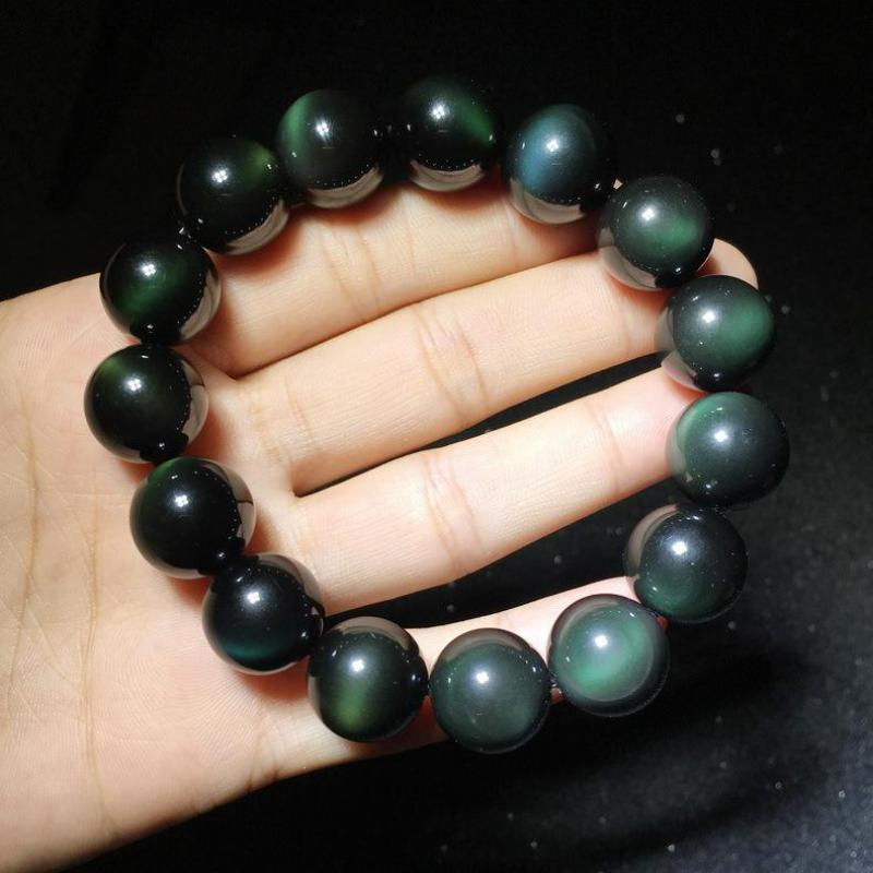 Genuine Double Rainbow Eyes Natural Obsidian Beaded Bracelets For Men And Women 8-18mm Lucky Buddha Bracelets