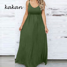 Kakan 2019 летнее Новое Женское платье эластичный пояс однотонное