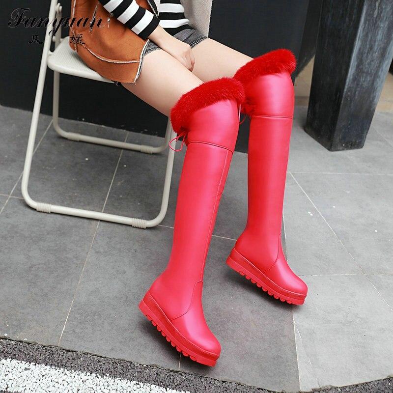 Retour Neige black White La Plus up Slip 2017 Filles Plate Chaussures sur genou Bottes Over red Taille Pour De Avec Femme Hiver Longues Plat forme Dentelle Arc the wxWIqFCS