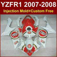 LUCKY strike motorcycle fairings for YAMAHA YZFR1 2007 2008 Injection white bodywork YZF R1 YZF1000 YZF 1000 07 08 body parts