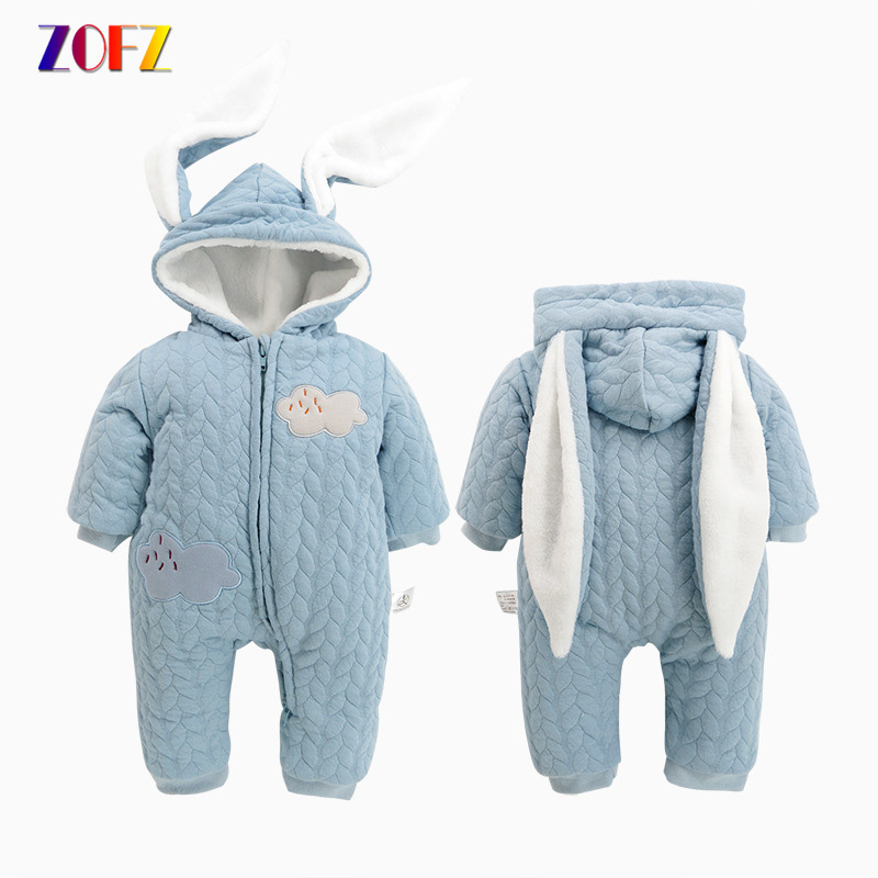 ZOFZ Cute Baby Clothes Cotton Solid Jumpsuit for Girls Fashion Full Sleeve baby Rompers with rabbit hooded New Bebes Clothing baby rompers cotton long sleeve 0 24m baby clothing for newborn baby captain clothes boys clothes ropa bebes jumpsuit custume